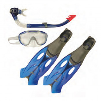 SPEEDO Seturi inot GLIDE MASK SNORKEL FIN SET AU GREY/BLUE